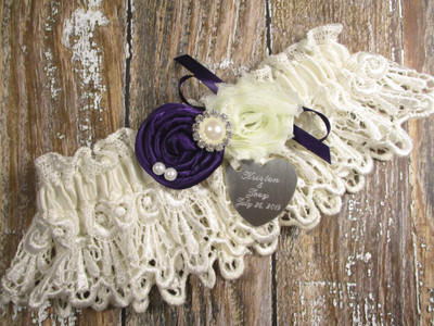 Personalized Ivory Lace Wedding Garter, Shown with a Purple Rose and Bow
