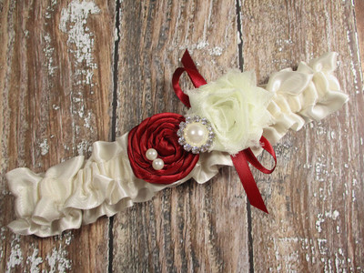 Custom Rose Wedding Garter in Ivory  Satin, Shown with a Scarlet Red Rose