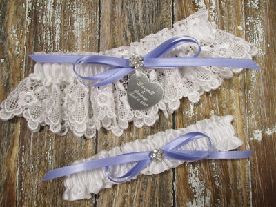 Personalized White Lace Wedding Garter Set, Shown with an Iris Bow