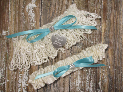 Personalized Ivory Lace Wedding Garter, Shown with a Robin's Egg Blue Bow