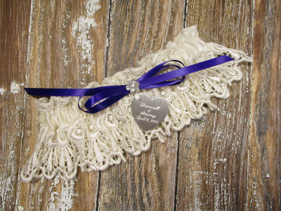 Personalized Ivory Lace Wedding Garter, Shown with a Regal Purple Bow