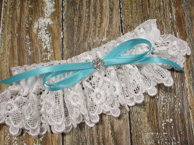 White Lace Wedding Garter, Shown with a Robin's Egg Blue Bow
