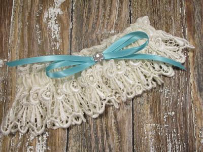 Ivory Lace Wedding Garter, Shown with a Robin's Egg Blue Bow