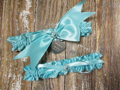 The Personalized Robin's Egg Blue Satin Wedding Garter Set with Crystals
