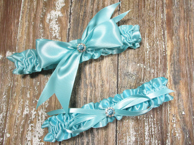 Robin's Egg Blue Wedding Garter Set with Robin's Egg Blue Crystals and Rhinestones