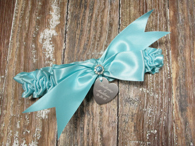 The Personalized Robin's Egg Blue Wedding Garter with Crystals and Rhinestones