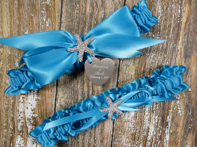 The Personalized Starfish Beach Wedding Garter Set in Turquoise