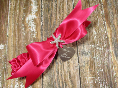 The Personalized Starfish Beach Wedding Garter in Hot Pink