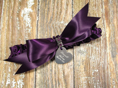 The Personalized Eggplant Purple Satin Wedding Garter with Amethyst Crystals