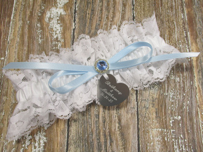 The Personalized White Lace Wedding Garter with a Blue Crystal