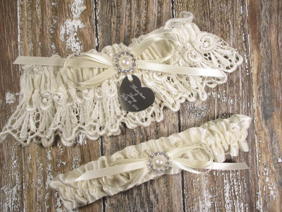 Ivory Lace Wedding Garter Set with Pearls and Rhinestones in Ivory