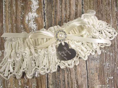 Personalized Ivory Lace Wedding Garter Set with Pearls and Rhinestones, Shown with an Ivory Bow