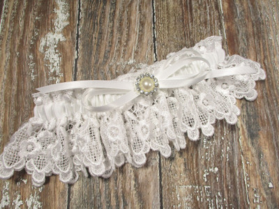White Lace Wedding Garter with Pearls and Rhinestones, Shown with a White Bow