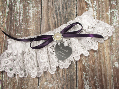Personalized White Lace Wedding Garter with Pearls and Rhinestones, Shown with an Eggplant  Bow
