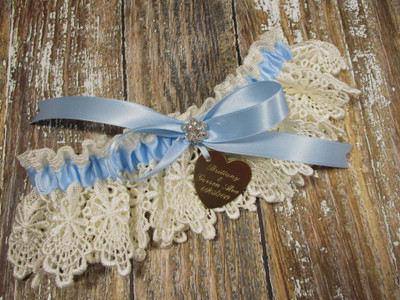Personalized Ivory and Blue Lace Wedding Garter with Rhinestones