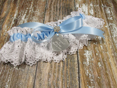 Personalized White and Blue Lace Wedding Garter with Rhinestones