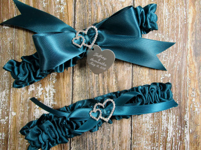 The Linked Rhinestone Hearts Wedding Garter Set in Teal