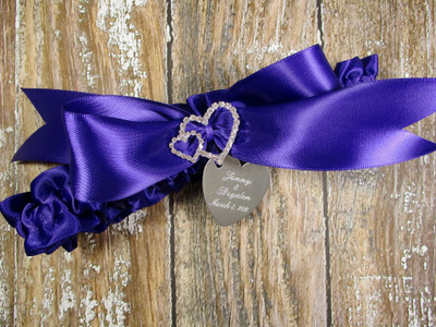 The Linked Rhinestone Hearts Wedding Garter in Regal Purple