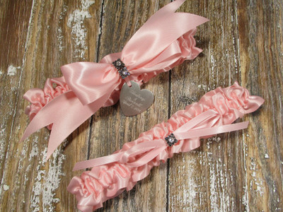 The Personalized Swarovski Crystal Wedding Garter Set in Pink