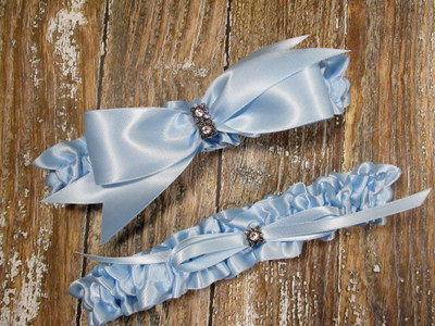 The Swarovski Crystal Wedding Garter Set in Light Blue