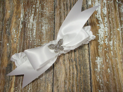 The Rhinestone Butterfly Wedding Garter in White