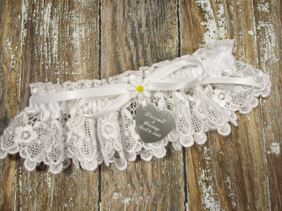Personalized Daisy Wedding Garter Shown with a White Bow