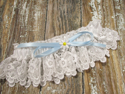 Daisy Wedding Garter in White Lace with a Light Blue Bow