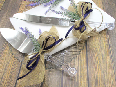 Engraved Rustic Wedding or Anniversary Cake Knife and Server Set with Lavender