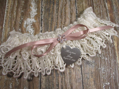 The Personalized Ivory Lace and Rose Gold Wedding Garter