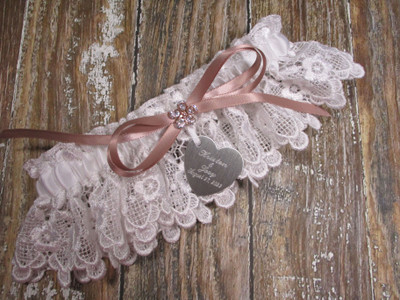 The Personalized White Lace and Rose Gold Wedding Garter