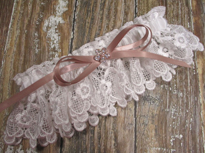 White Lace and Rose Gold Wedding Garter