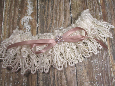 Ivory Lace and Rose Gold Wedding Garter