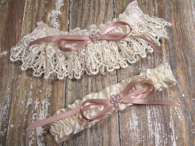 The Ivory Lace and Rose Gold Wedding Garter Set
