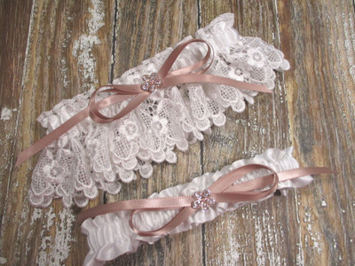 The White Lace and Rose Gold Wedding Garter Set