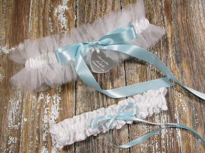 Personalized White Tulle Wedding Garter Set with Custom Color Bows
