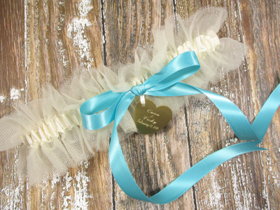 Personalized Wedding Garter in Ivory Tulle with a Robin's Egg Blue Bow