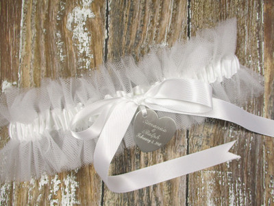 Personalized White Tulle Wedding Garter Set Shown with White Bows