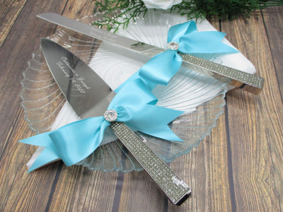 Personalized Glitter Galore Wedding Cake Knife and Server with Custom Color Bows and Rhinestones