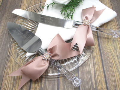 Engraved Rose Gold Accented Wedding Cake Knife and Serving Set