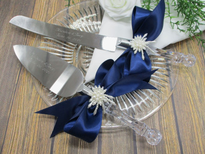 Engraved Wedding Cake Knife and Serving Set with White Pearls