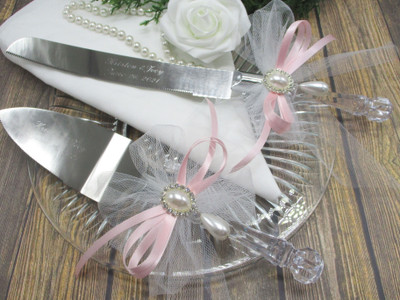 Wedding Cake Knife and Serving Set with Engraving, Tulle, Pearls and Rhinestones