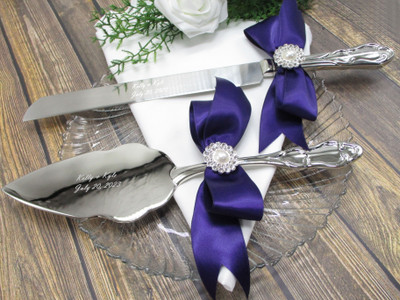 Personalized Silver Wedding Cake Knife and Server with Satin Bows