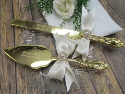 Personalized Gold Wedding Cake Knife and Server Set with Custom Satin Bows