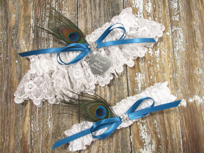 Personalized Peacock Feather Wedding Garter Set, Shown with a Jade Blue Bow