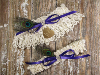 Personalized Peacock Feather Wedding Garter Set, Shown with a Regal Purple Bow