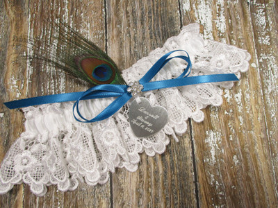 Personalized White Lace Wedding Garter with a Peacock Feather, Shown with a Jade Blue Bow