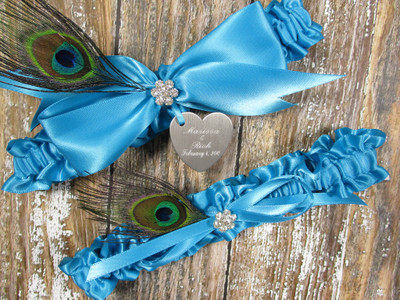 Personalized Peacock Feather Wedding Garter Set in Turquoise