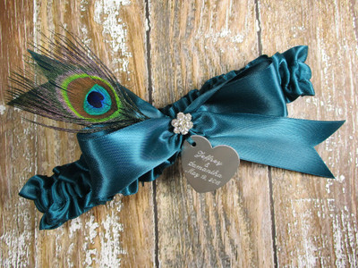 Personalized Peacock Feather Wedding Garter in Teal