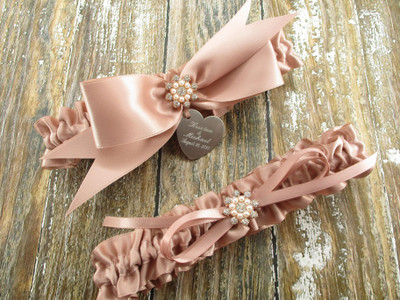 Personalized Rose Gold Wedding Garter Set in Satin