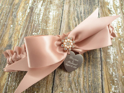 The Personalized Rose Gold Satin Wedding Garter